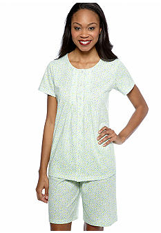 Kim Rogers Blue Ditsy Knit Shorty Pajama Set