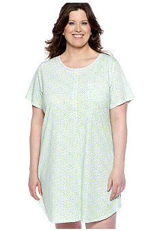 Kim Rogers Plus Size Blue Ditsy Sleep Shirt