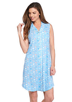 Kim Rogers Sleeveless Notch Collar Sleepshirt