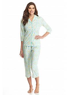 Kim Rogers Ikat Notch Collar Pajama Set