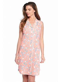 Kim Rogers Sleeveless Notch Collar Sleepshirt