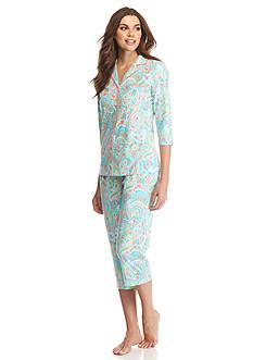 Kim Rogers Aqua Paisley Notch Collar Pajama Set