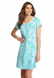 Kim Rogers Short Sleeve Aqua Floral Gown