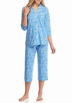 Kim Rogers 2-Piece Notch Collar Royal Paisley Pajama Set