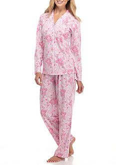 Kim Rogers 2-Piece Long Sleeve Notch Vanessa Paisley Pajama Set