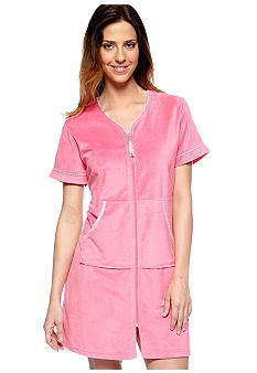 Jasmine Rose Seersucker Trim Terry Zip Robe