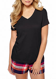 HUE Solid V-Neck Short Sleeve Sleep Tee