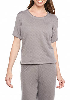 HUE Quilt Crop Short Sleeve Tee