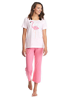 HUE Flamingo Time Capri Pajama Set