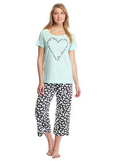 HUE Script Heart Capri Pajama Set