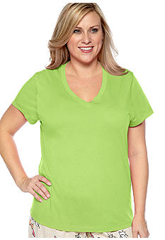 HUE Plus Size Short Sleeve V-Neck Pajama Tee