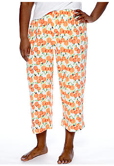 HUE Plus Size Orange Print Capri Pajama Pant