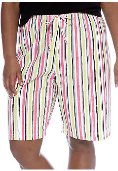 HUE Plus Size Striped Bermuda Sleep Short