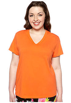 HUE Plus Size Solid V-Neck Sleep Tee