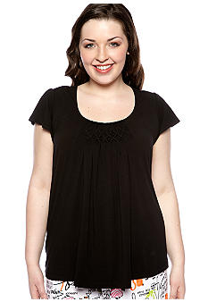 HUE Plus Size Sleep Tee With Diamond Pleating