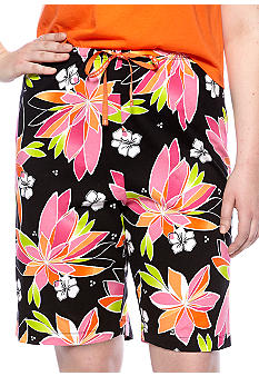HUE Plus Size Rio Floral Sleep Bermuda Short
