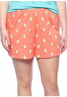HUE Plus Size Pineapple Boxer Sleep Shorts