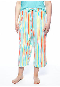 HUE Plus Size Striped Capri Pajama Pant