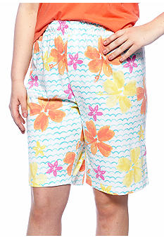 HUE Plus Size Hibiscus Print Bermuda Sleep Short