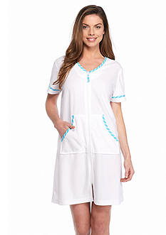 Kim Rogers Stripe Trim Short Terry Zip Robe