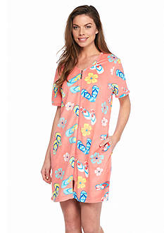 Kim Rogers Flip Flip Short Terry Zip Robe