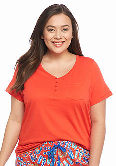 New Directions Intimates Plus Size Short Sleeve Henley Tee