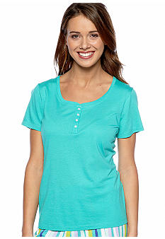 ND Intimates Turquoise Short Sleeve Henley Sleep Tee