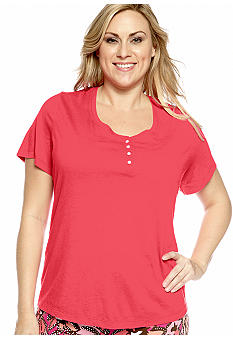 ND Intimates Plus Size Henley Sleep Tee
