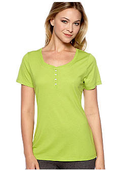 ND Intimates Lime Short Sleeve Henley Sleep Tee