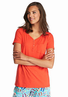 New Directions Intimates Short Sleeve Henley Tee