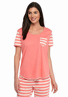 New Directions Intimates Short Sleeve Tee with Pom Trim