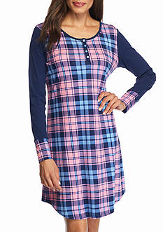 New Directions Intimates Pink Plaid Sleepshirt
