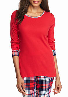 New Directions Intimates Long Sleeve Red Plaid Tee