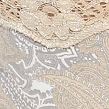Women: Panties Sale: Tan Paisley ND Intimates Printed Lace Trim Thong - T91136P