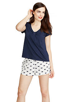 kate spade new york Short Sleeve Bow Boxer Pajama Set