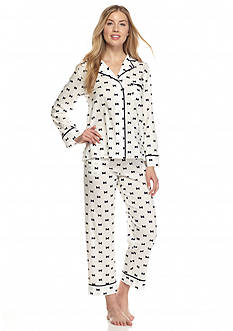 kate spade new york Bow Notch Collar Capri Pajama Set