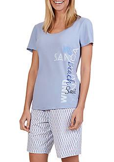 Nautica Screen Tee Bermuda Pajama Set