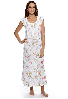Carole Hochman Lace Trim Floral Long Gown