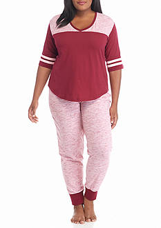 PJ Couture Plus Size Cherry Athletic Stripe Jogger Pajama Set
