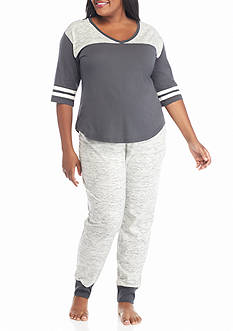 PJ Couture Plus Size Gray Athletic Stripe Jogger Pajama Set