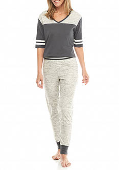 PJ Couture Gray Athletic Stripe Jogger Pajama Set