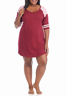 PJ Couture Plus Size Cherry Athletic Stripe Sleep Shirt