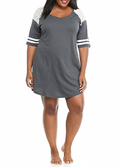 PJ Couture Plus Size Gray Athletic Stripe Sleep Shirt