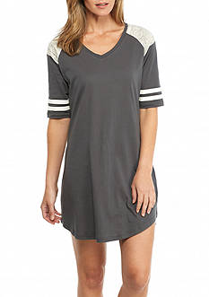PJ Couture Gray Athletic Stripe Sleep Shirt