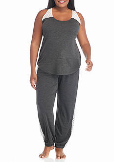 PJ Couture Plus Size Crochet Trim Tank Pajama Set