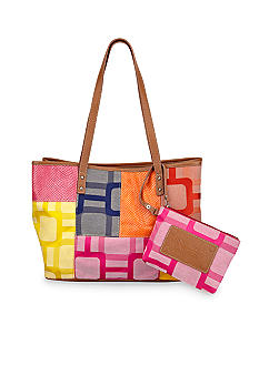 Nine West Vegas Signs Patchwork Medium Shopper
