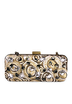 Mary Frances Gold White Crystal Circles Clutch