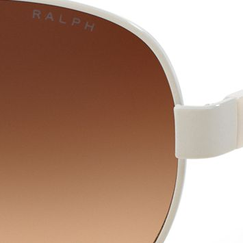Ralph By Ralph Lauren: White Ralph by Ralph Lauren Logo Aviator Sunglasses