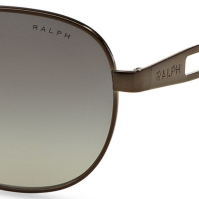 Women: Ralph By Ralph Lauren Accessories: Gunmetal Ralph by Ralph Lauren Vented Aviator Sunglasses