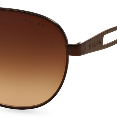 Women: Ralph By Ralph Lauren Accessories: Brown Ralph by Ralph Lauren Vented Aviator Sunglasses